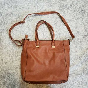 MG Collection Cognac Leather Crossbody Hobo Bag w/